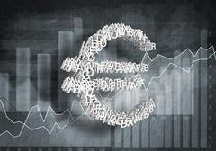 Euro currency rate, 3D rendering Stock Illustration