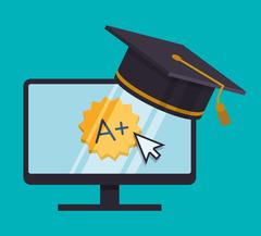 Education online or elearning - stock illustration