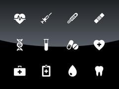 Medical icons on black background Stock Illustration