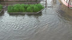 Flooded street view from above Stock Footage