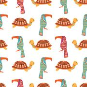 African animals cute seamless pattern Piirros