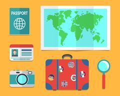 Traveler's suitcase, earth map, passports - stock illustration
