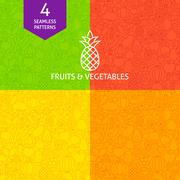 Thin Line Art Fruits & Vegetables Pattern Set Stock Illustration