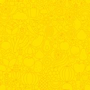 Thin Yellow Fruits Vegetables Line Seamless Pattern - stock illustration