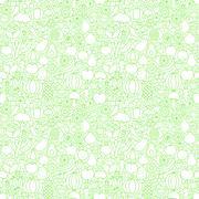 Thin Line Fresh Fruits Vegetables White Seamless Pattern Stock Illustration