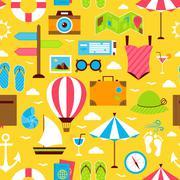 Yellow Flat Summer Travel Voyage Seamless Pattern Stock Illustration