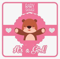 Baby shower invitation card - stock illustration
