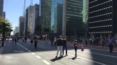 Beautiful Sunday in Paulista Avenue in Sao Paulo, Brazil - stock footage