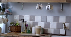 Jar Of Marshmallows and Close-Up Of Mugs On Shelf In Cafe Shot On R3D Stock Footage