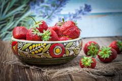 Bunch of ripe strawberrie. Stock Photos