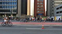 Beautiful Sunday in Paulista Avenue in Sao Paulo, Brazil - stock footage