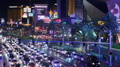 Time Lapse of Busy Las Vegas Boulevard at Night Stock Footage