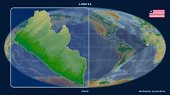 Liberia - 3D tube zoom (Mollweide projection). Bumps shaded Stock Footage