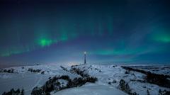 Bjoergvin | Aurora over Rundemanen Stock Footage