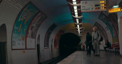 Metro train arriving at the station. Subway of Paris Stock Footage