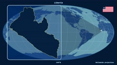 Liberia - 3D tube zoom (Mollweide projection). Solids Stock Footage