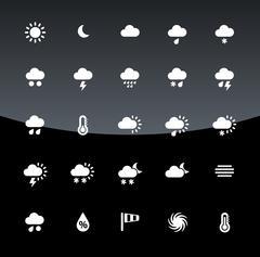 Weather icons on black background Stock Illustration