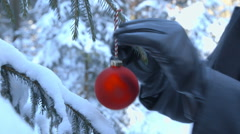 Decorating the Outdoor Christmas Tree - stock footage
