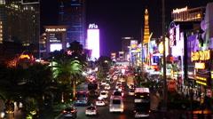 Busy Casino Traffic on the Las Vegas Strip - Night - stock footage