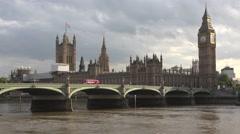 4K Big Ben, London, Traffic on Westminster Bridge, Red Double Decker Buses Stock Footage