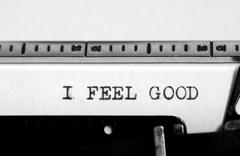 Typing text: i feel good - stock illustration