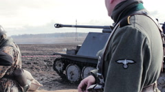Authentic German Reich Soldier Protects Military Equipment - stock footage