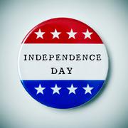 pin button with the text independence day - stock photo