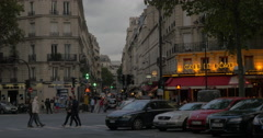 Parisian narrow street in the evening Stock Footage