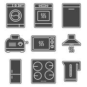 Kitchen appliance gray solid icons Stock Illustration