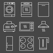 Kitchen appliance white icons - stock illustration