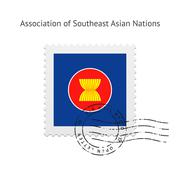 Association of Southeast Asian Nations Flag Postage Stamp Stock Illustration