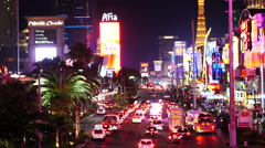 Zoom Out - Time Lapse of Busy Las Vegas Boulevard at Night Stock Footage