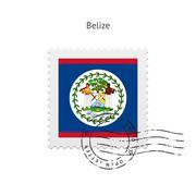 Belize Flag Postage Stamp Stock Illustration