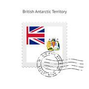 British Antarctic Territory Flag Postage Stamp - stock illustration