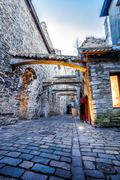 Medieval street  St. Catherine's Passage in Tallinn, Estonia - stock photo