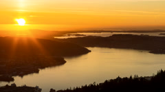 Bjoergvin | Sunset over the Fjord Stock Footage