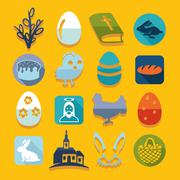 Set of easter icons - stock illustration