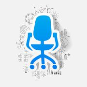 drawing business formulas. office chair - stock illustration