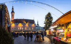 Traditional Christmas market in Tallinn old town. - stock photo