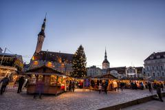 Traditional Christmas market in Tallinn old town. Stock Photos