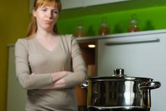 Pan on electric stove in the kitchen Stock Photos