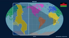 Malawi - 3D tube zoom (Kavrayskiy VII projection). Continents - stock footage
