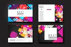 Set of brochure, poster design templates in abstract geometric background style - stock illustration
