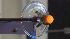 Glassblower Making Pedestal For Sculpture Festival of High Temperatures Man Stock Footage