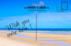 Wish You Were Here summer vacation postcard Stock Photos