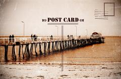 Sepia old faded Summer Holidays Vacation postcard Stock Photos