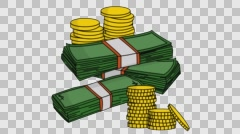 stacks of money with coins cartoon illustration hand drawn animation transparent - stock footage