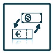 Currency dollar and euro exchange icon - stock illustration