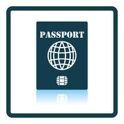 Passport with chip icon Stock Illustration