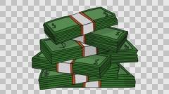 Stacks of money Sketch illustration hand drawn animation transparent Stock Footage